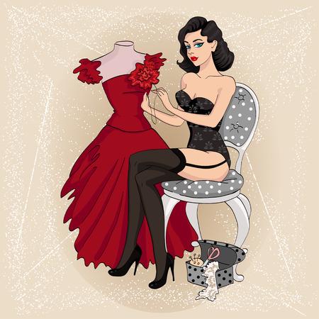 Sexy pin-up brunett girl sews dress 1950s stile