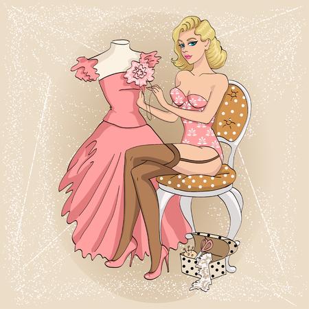 Sexy pin-up blonde girl sews dress 1950s stile
