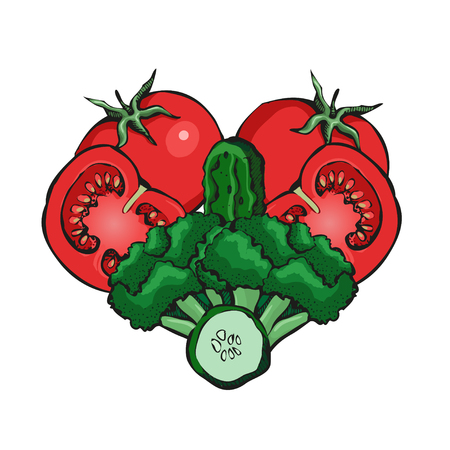 Illustration with vector vegetables in heart. Concept healthy food.