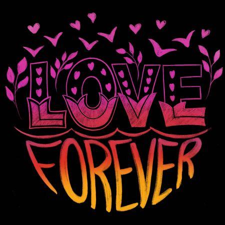 Hand drawn color illustration Lettering love frase 1
