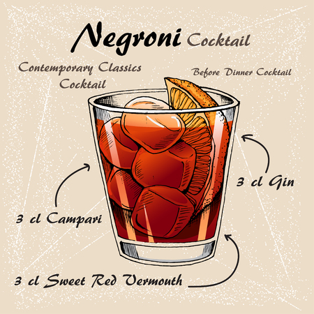 Negroni alcoholic cocktail, consisting of Gin, Campari, red vermouth, ice cubes, orange.