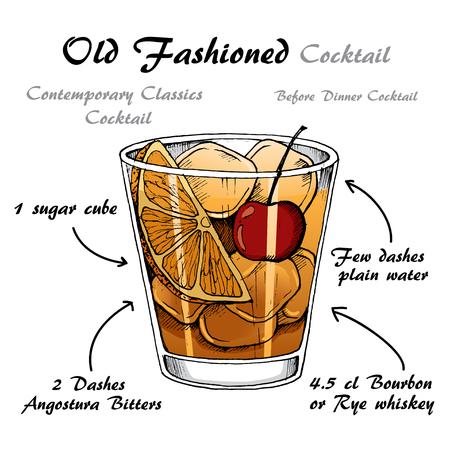 Vector illustration of alcoholic cocktail Old Fashioned sketch Vektorové ilustrace