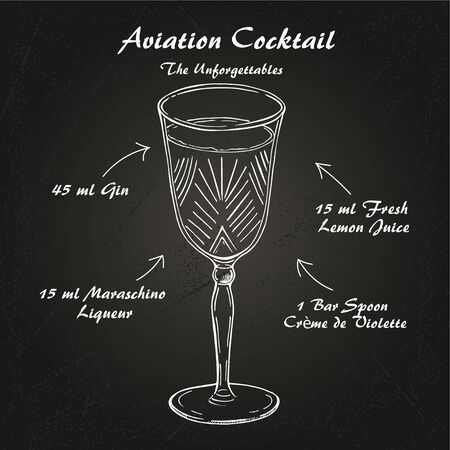 Cocktail Aviation recipe vector , low-alcohol sketch Illustration