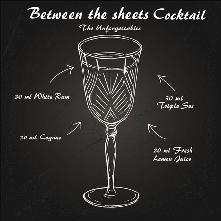 Cocktail Between the Sheets, alcohol drink. Light rum and brandy, orange liqueur and lemon Illustration