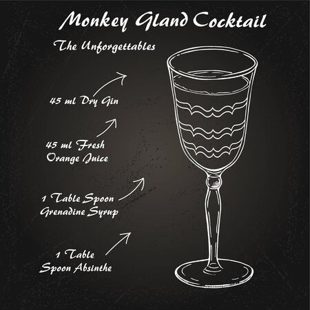 Monkey Gland cocktail alcoholic recipe vector sketch
