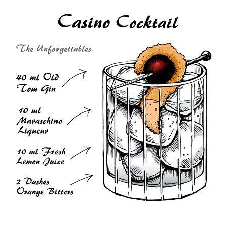 Casino cocktail alcoholic recipe vector hand-drawn sketch