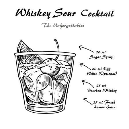 Whiskey sour cocktail recipe vector illustration sketch Ilustração Vetorial