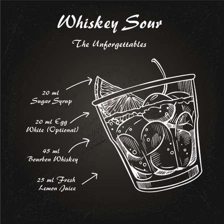 Whiskey sour cocktail recipe vector illustration sketch 1 Ilustração Vetorial