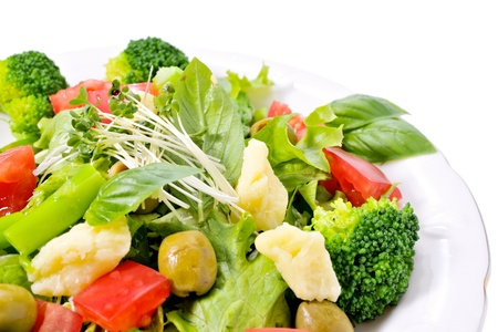 Salad of cheese and vegetables photo