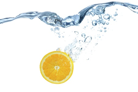 undulation: The orange which jumps into water Stock Photo