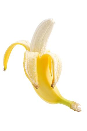 白い背景で隔離熟したバナナ
