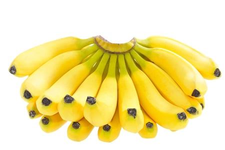 白い背景に分離された熟したバナナ