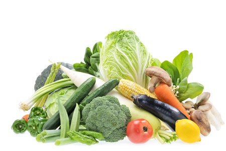 Colorful fresh vegetables  White background