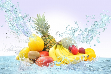 Fresh fruit and water Stock Photo