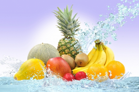 Fresh fruit and water Stock Photo - 16185258
