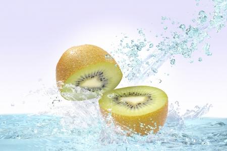 Kiwi fruit and water Stock Photo - 16185313