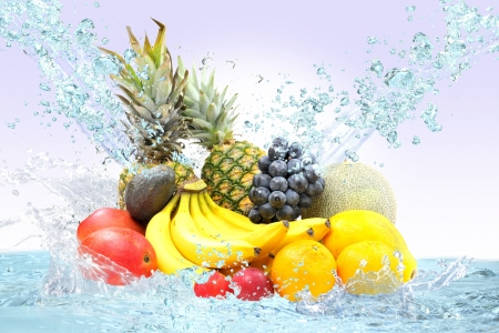 Fresh fruit and water Stock Photo - 16185262