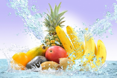 Fresh fruit and water Stock Photo - 16185261