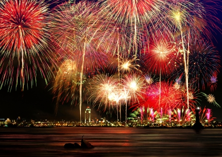 Multicolored fireworks fill the horizontal frame