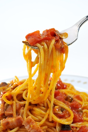 Closeup of a fork on spaghetti Stock Photo - 16445339