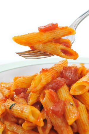 Italian pasta on white plate