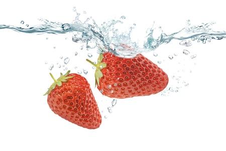Strawberry splash Wed Stock Photo