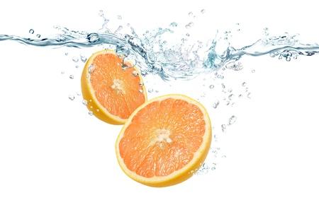 Grapefruit in water Stock Photo