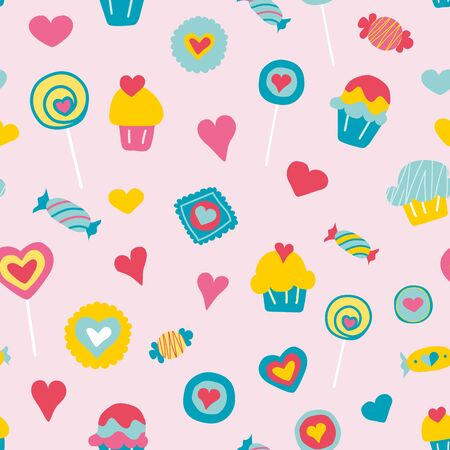 Vector sweet love candies seamless pattern background. Perfect for fabric, packaging, scrapbooking, wallpaper projects, bedding, clothes, bags, cards, prints