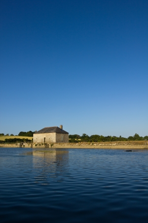 activated: Water mill being activated by the tidal power - Morbihan Gulf