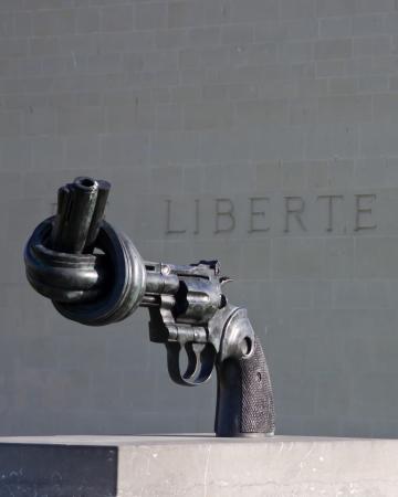 Non-violence replica statue - Caen Memorial, Normandy, France  Stock Photo