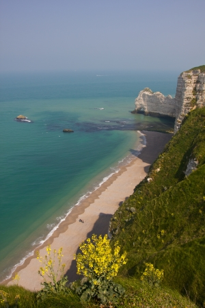 English Channel beach on the french coast - Etretat Stock Photo - 14412632