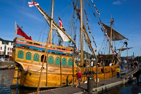 docking: Vannes festival, Brittany, France: Old galleon docking