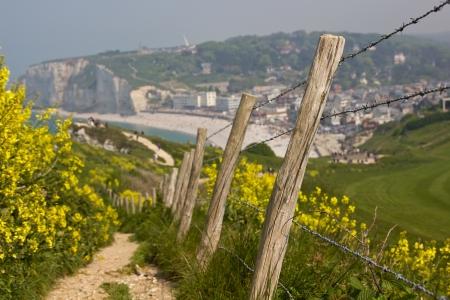 delimitation: Path to Etretat s beach Stock Photo