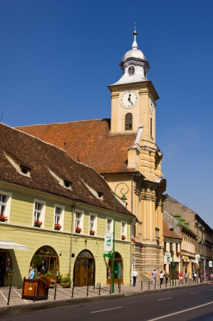 Splendid medieval architecture of historic city of Brasov , Transylvania , Romania. Muresenilor Street Stock Photo - 14681678