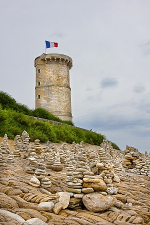 Ancient Whales lighthouse on the french coastline Stock Photo