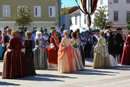 Porec, Croatia: Society dance at the medieval festival Editorial