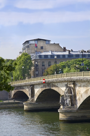 Beautiful architecture of the ancient stone bridges in Paris, France