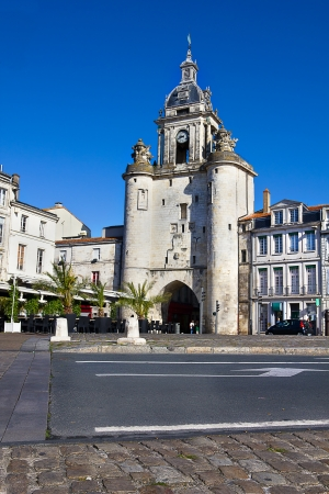 Entrance in the old town center of the ancient harbor of La Rochelle Stock Photo