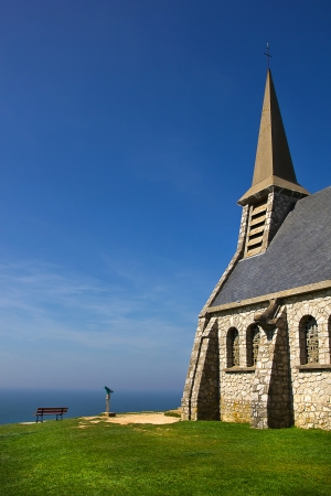 Old stony chapel, Notre Dame de la Garde, Etretat, Normandy Stock Photo