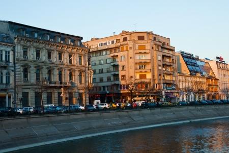 Bucharest river scene at dusk