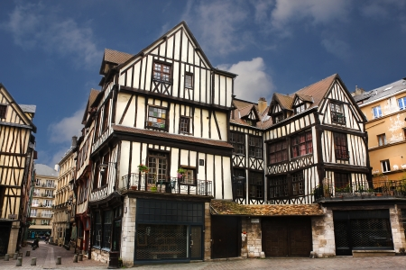 half timbered: Half-timbered houses of Rouen