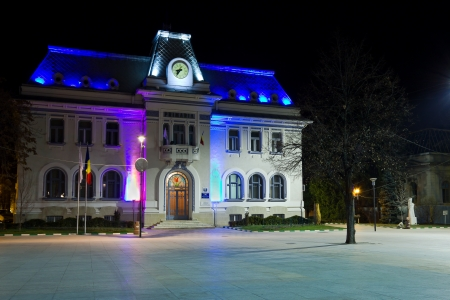 Pitesti town hall by night, Arges, Romania