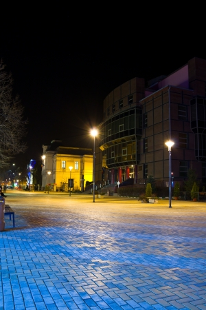 Pitesti city center by night, Arges, Romania Stock Photo - 16860407