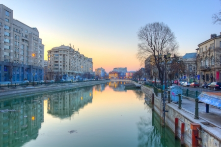 Dambovita river in Bucharest downtown at dusk - HDR