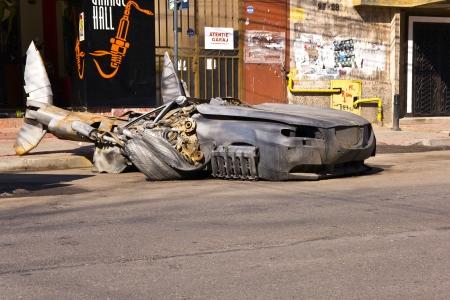 Metallic sculpture representing a shark, in front of Garage Hall caf�, Bucharest