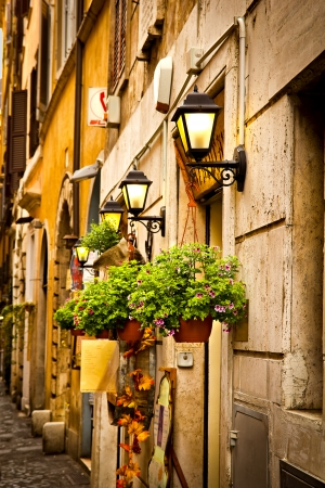 Restaurant entrance in Rome Italy Stock Photo