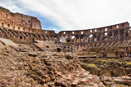 Roman empire ruins in Rome Italy - Colosseum Stock Photo