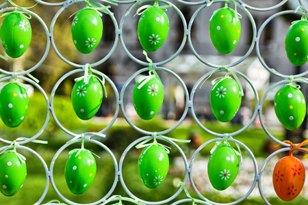 Green eggs hanging Stock Photo
