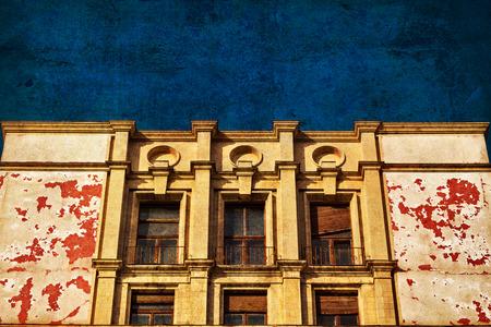 Building beautiful facade left in ruin in Bucharest Romania