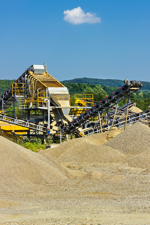 Heavy instalation for sand and gravel production Stock Photo
